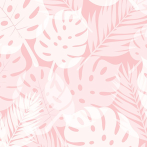 Tropical Shadows - White on Pink