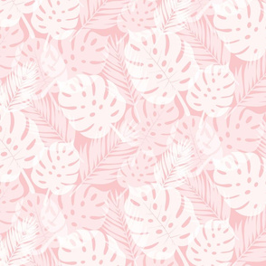 Tropical Shadows - White on Pink - Micro Print