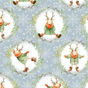 Winter Deer & Wreath - holiday fabric - SMALL SIZE