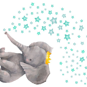 "27""x18"" Baby Boy Elephant with Aqua Stars"