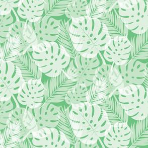 Tropical Shadows - White on Bright Green - Micro Print
