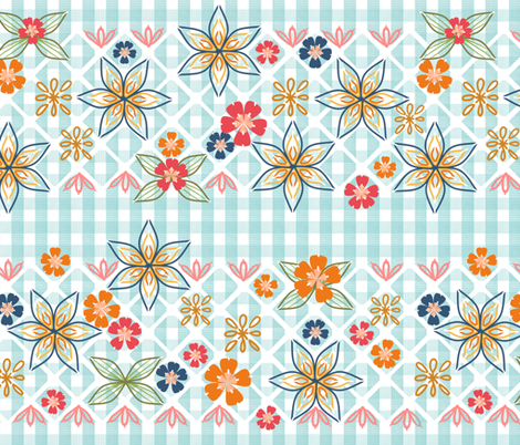 1950's Gingham Embroidery and Patches Chicken Scratch in Autumn Colors fabric by amborela on Spoonflower - custom fabric