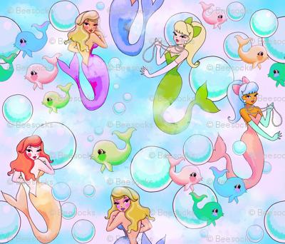 retro mermaids in sweet pastels