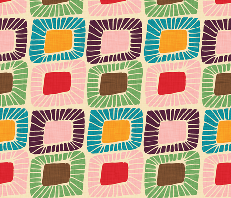 1950 atomic pattern cord pink fabric by bruxamagica on Spoonflower - custom fabric