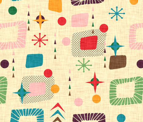 1950s atomic pattern fabric by bruxamagica on Spoonflower - custom fabric