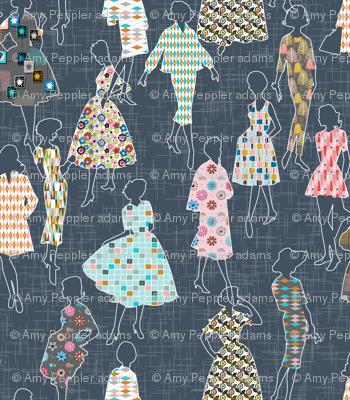 Dressmakers* (Midcentury)    modern 50s 60s dresses patterns ladies women pattern flowers floral flower atomic fashion sewing seamstress garment