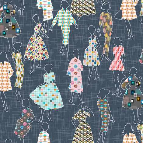 Dressmakers* (Midcentury)    modern 50s 60s dresses patterns ladies women pattern flowers floral flower atomic fashion sewing seamstress garment fabric by pennycandy on Spoonflower - custom fabric