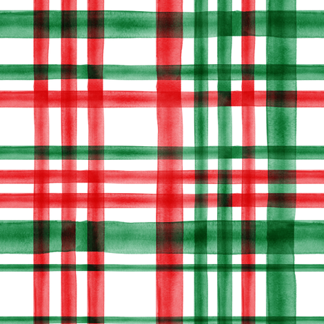 Christmas watercolor plaid (bright) fabric by littlearrowdesign on Spoonflower - custom fabric