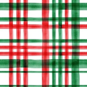 Christmas watercolor plaid (bright)