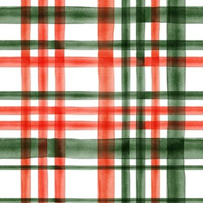 Christmas watercolor plaid