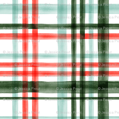 Christmas watercolor plaid (mint)