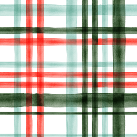 Christmas watercolor plaid (mint) fabric by littlearrowdesign on Spoonflower - custom fabric