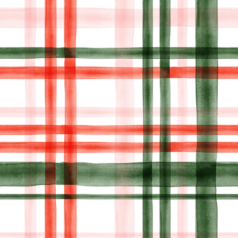 Christmas watercolor plaid (pink) fabric by littlearrowdesign on Spoonflower - custom fabric
