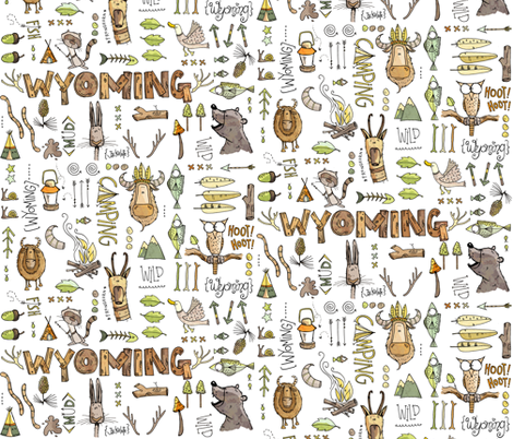 Wild in Wyoming - white fabric by mulberry_tree on Spoonflower - custom fabric