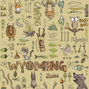 Wild in Wyoming - Yellow/beige