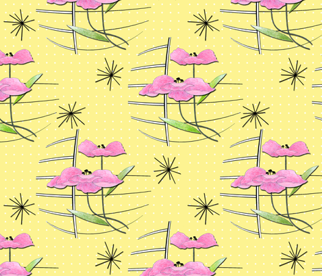 Vintage Poppies on Yellow fabric by barbaramarrs on Spoonflower - custom fabric