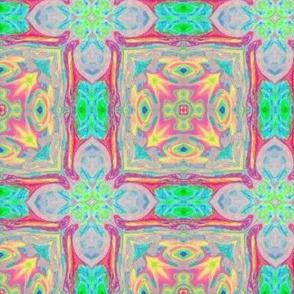 Tiled Flower Aqua Pink
