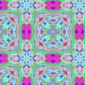 Tiled Flower Blue Pink