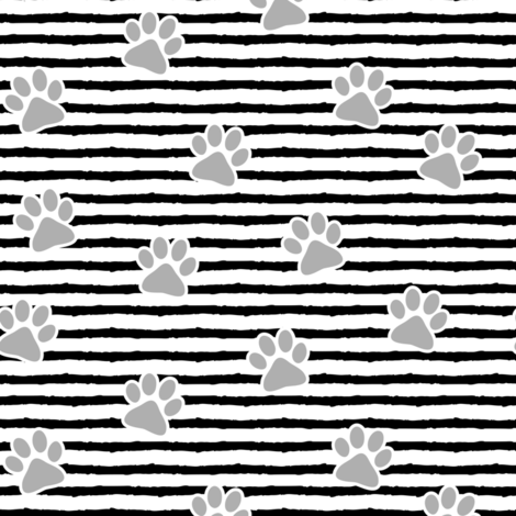 paws on stripes (grey) fabric by littlearrowdesign on Spoonflower - custom fabric