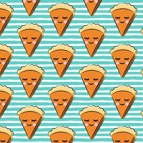 Pumpkin pie slice - teal stripes - cutie pie