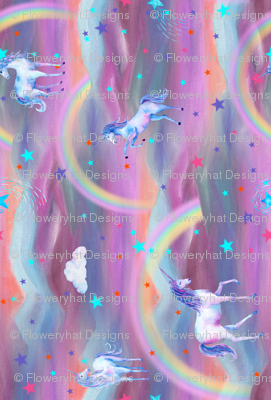 DREAMY UNICORN SPRING PINK BLUE SKY by FLOWERYHAT HORIZONTAL