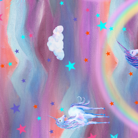 DREAMY UNICORN SPRING PINK BLUE SKY by FLOWERYHAT HORIZONTAL fabric by floweryhat on Spoonflower - custom fabric