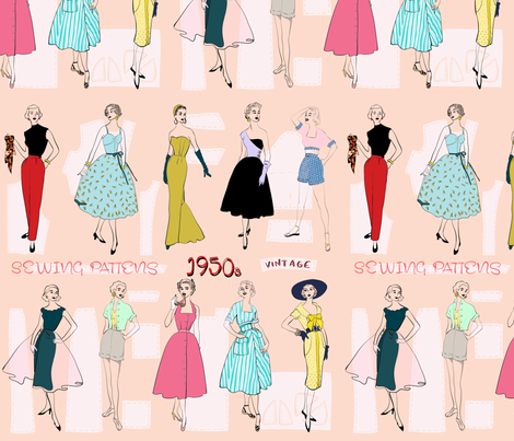Sewing Patterns Of The 60s Fabric Jenniejoyce Spoonflower Classy 1950s Patterns