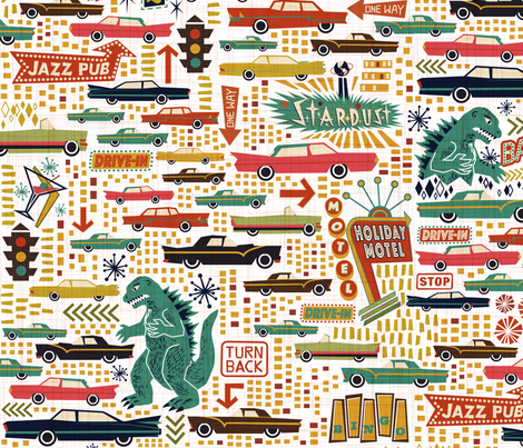 Surprise! Way Back to 1950s fabric by meliszawang on Spoonflower - custom fabric