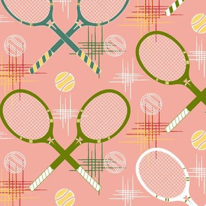 1950's-Tennis Racquets Pastel