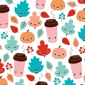 Kawaii autumn leaves and pumpkin spice latte love illustration pattern girls