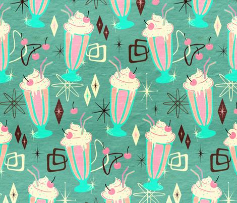 Retro 50s Milkshakes - large print fabric by micklyn on Spoonflower - custom fabric