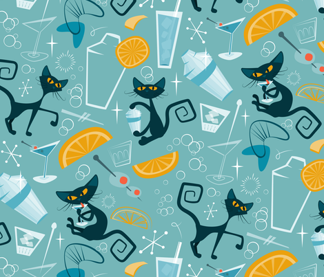 1950s Cats and cocktails fabric by roofdog_designs on Spoonflower - custom fabric