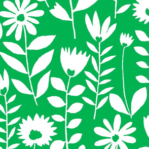 cutout flower (white on green)
