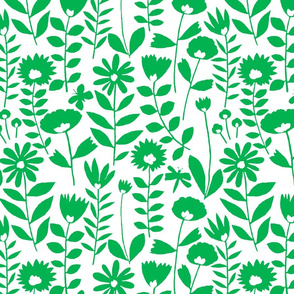 cutout flower small scale (green on white)