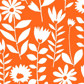 cutout flower (white on orange)