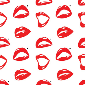 Sexy Red Lips and Mouth Cartoon
