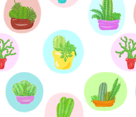 Cactus and Succulent Pattern fabric by shellystill on Spoonflower - custom fabric