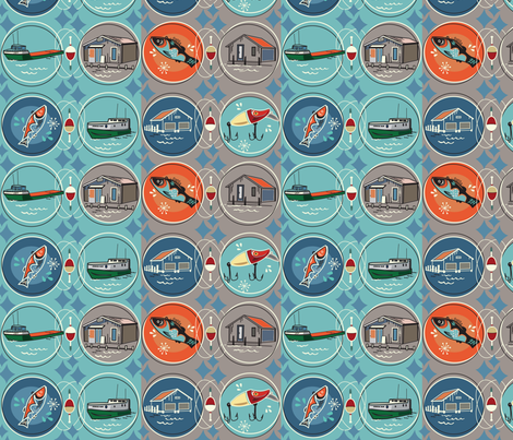 Fish Village 300 fabric by clarkyworks on Spoonflower - custom fabric