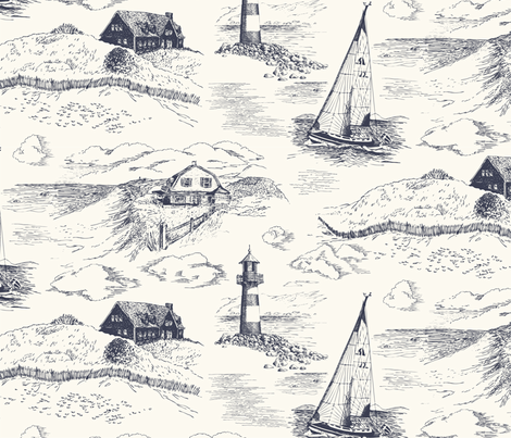 Toile Cape Cod Evening - large fabric by bear_bell on Spoonflower - custom fabric