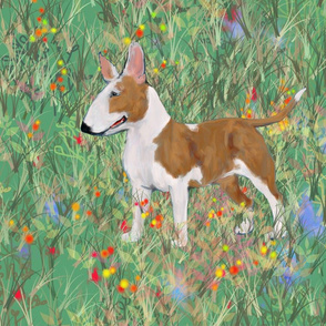 Bull Terrier in Wildflower Field For Pillow