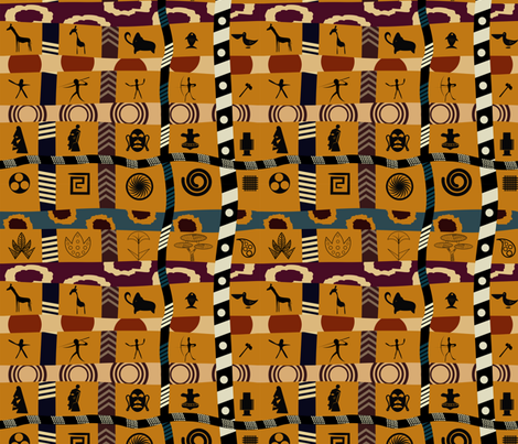 African Mudcloth Patchwork on Gold fabric by fabric_is_my_name on Spoonflower - custom fabric