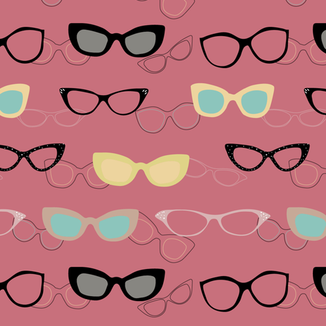 1950s Specs on Pink Flamingo fabric by stasiajahadi on Spoonflower - custom fabric