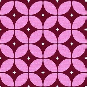 Mid Century Atomic burgundy  floral geo large-ed