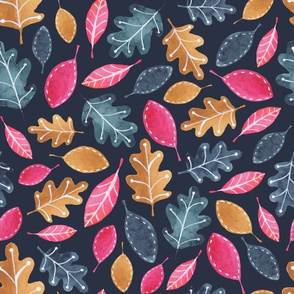 Bright Pink and Brown Watercolor Leaves on Navy