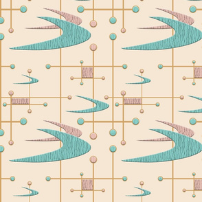 Mid Century Modern Boomerangs in Blush Pink and Blue