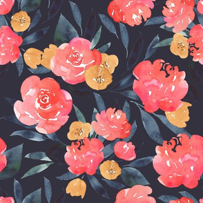 Pink Peony Moody Floral - Watercolor