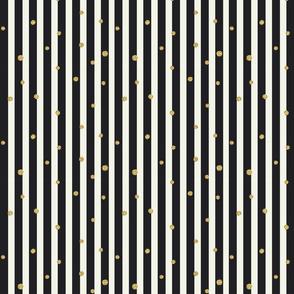 Stripes Black Gold Dots