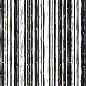 Stripes Wide Gold Black on White