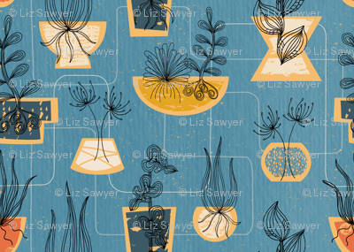 1950s Houseplants- Blue // retro midcentury modern plants vintage mid mod planters leaves fabric