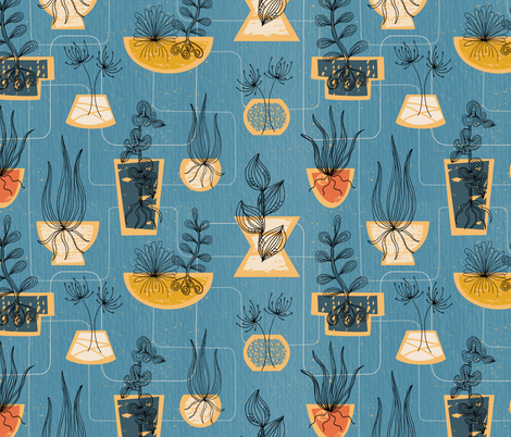 1950s Houseplants- Blue // retro midcentury modern plants vintage mid mod planters leaves fabric fabric by liz_sawyer_design on Spoonflower - custom fabric